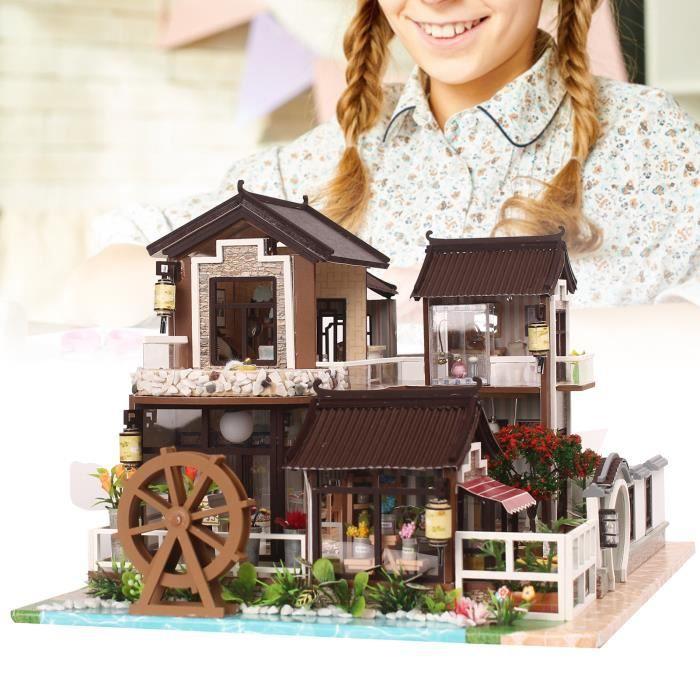 Fafeicy Modèle de mini maison Kit de Meubles en Bois Bricolage Modèle d'Assemblage de Cour Chinoise Rétro