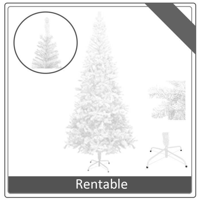 LesSaisons© Sapin de Noël artificiel L 240 cm Blanc - Arbre en PVC + support en acier