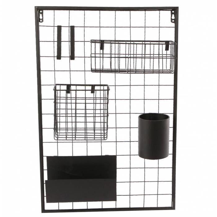 Etagère Design et Contemporaine Murale Rangement Rectangulaire Tendance Industriel et Modulable en Métal noir 10x40x60cm Noir