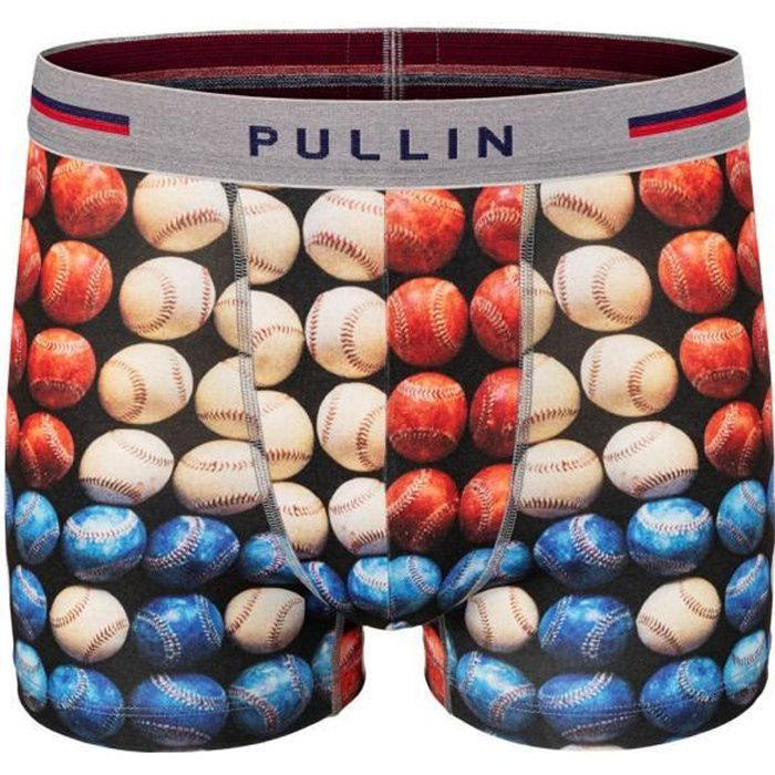 PULL IN Boxer Homme Microfibre USABALLS Bleu Blanc Rouge