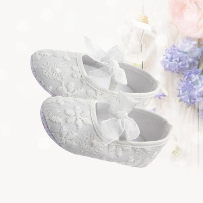 Chaussures bébé à semelle souple en dentelle Bowknot de marche assiettes pour tout-petits enfants filles - 11 (blanc) SLIP-ON