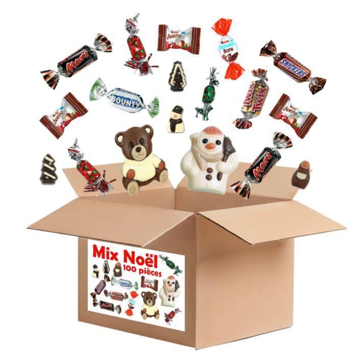 100 chocolats et pâtes de fruits avec moulages de NOEL : Kinder, célébrations