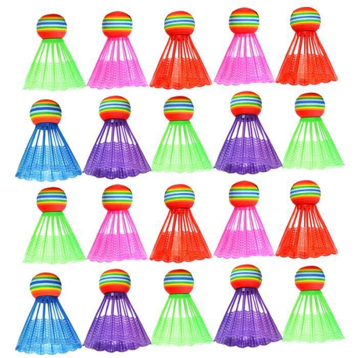 20 pièces volants délicats accessoires de sport colorés Gadget de balle de badminton pour l'extérieur VOLANT DE BADMINTON