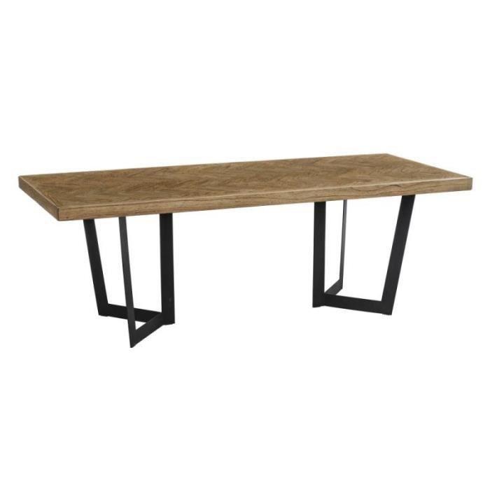 Table de repas rectangulaire 220 cm Bois parqueté/Métal - IFRANE - L 220 x l 90 x H 76