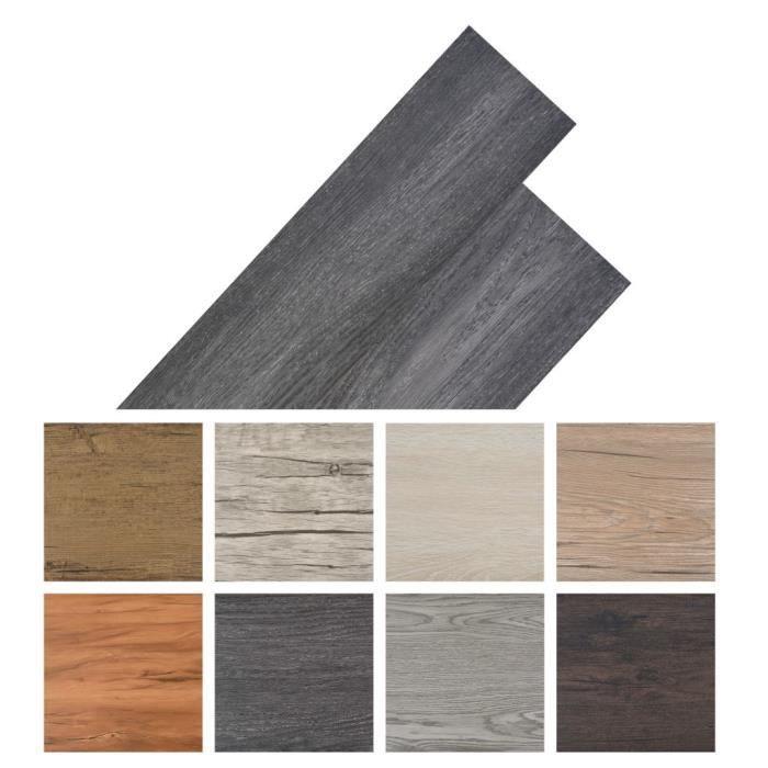 Planche de plancher PVC autoadhésif 36 pcs 5,02 m² Noir