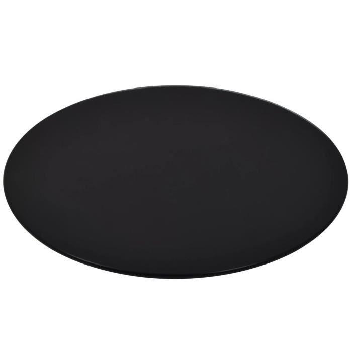 Dessus de table rond Verre trempé 300 mm Noir