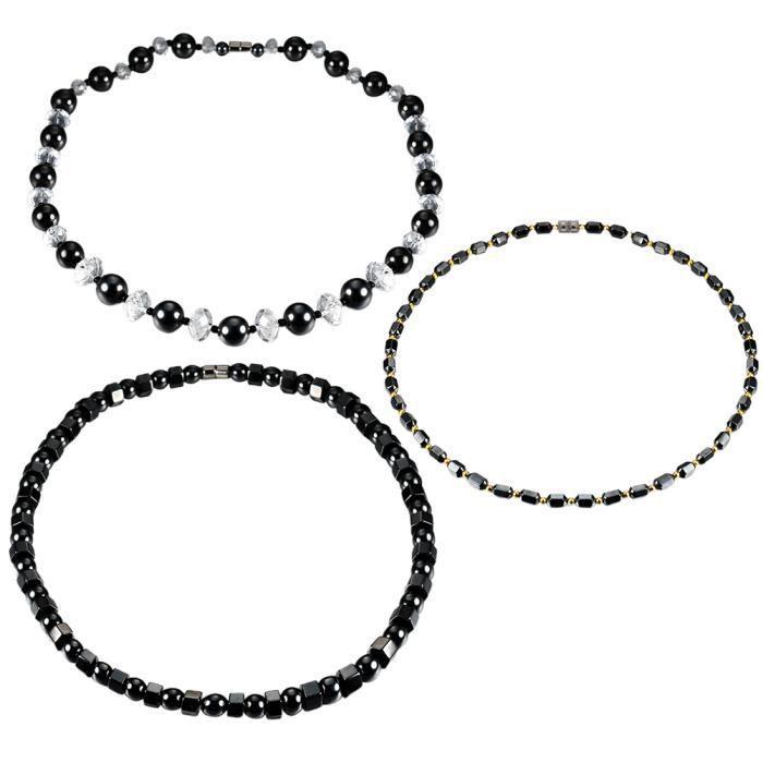 3 pcs Bracelets Magnétiques Perles Hématite Simple Chic Pied Bijoux Cheville Chaîne pour Hommes BRACELET - GOURMETTE - JONC
