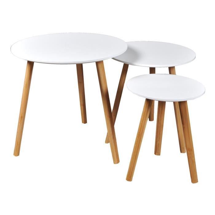 WEBER 3 tables gigognes rondes blanc laqué avec pieds en bois massif - L 50 x l 50 cm - L 40 x l 40 cm et L 30 x l 30 cm - VENUS