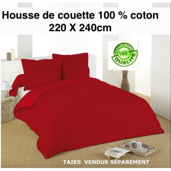 housse de couette 220 x 240cm rouge 100 coton 57 fils cm achat vente housse de couette. Black Bedroom Furniture Sets. Home Design Ideas