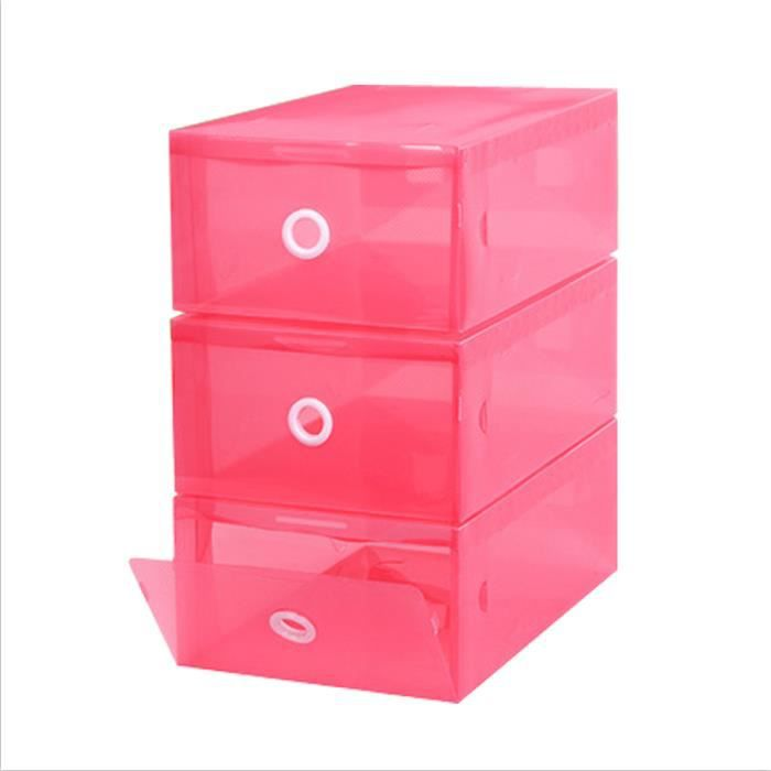 9pcs bo te de rangement de chaussures transparente rose. Black Bedroom Furniture Sets. Home Design Ideas