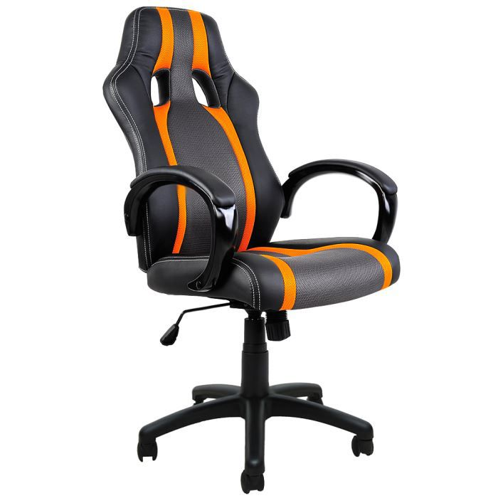 chaise de bureau sport fauteuil siege baquet noire grise orange voiture sport achat vente. Black Bedroom Furniture Sets. Home Design Ideas