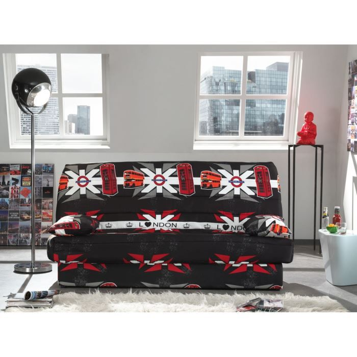coco banquette clic clac convertible lit coffre 3 places tissu polyester imprim london. Black Bedroom Furniture Sets. Home Design Ideas