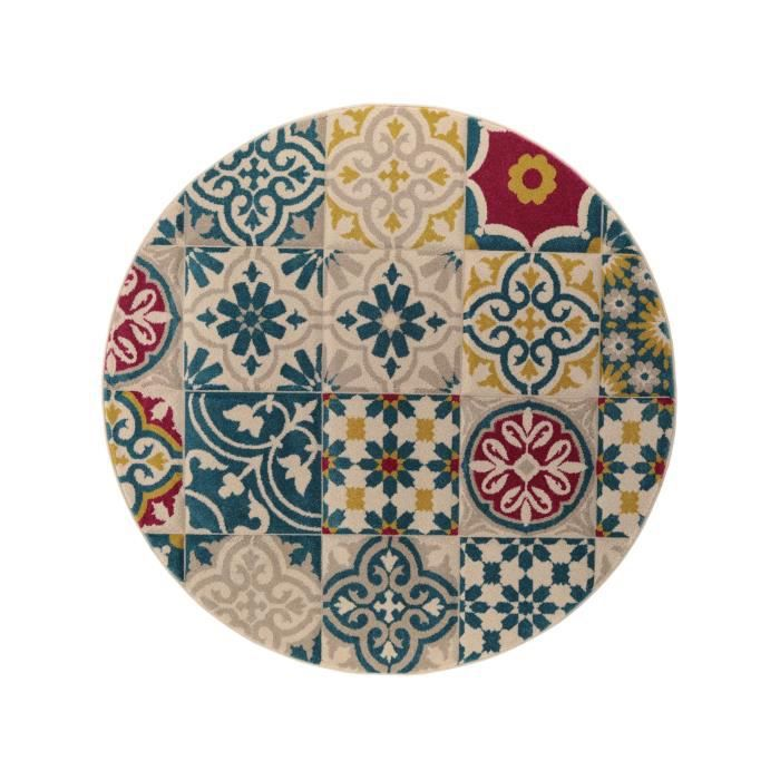 benuta tapis rond patchwork mosaico multicouleur 200 cm. Black Bedroom Furniture Sets. Home Design Ideas