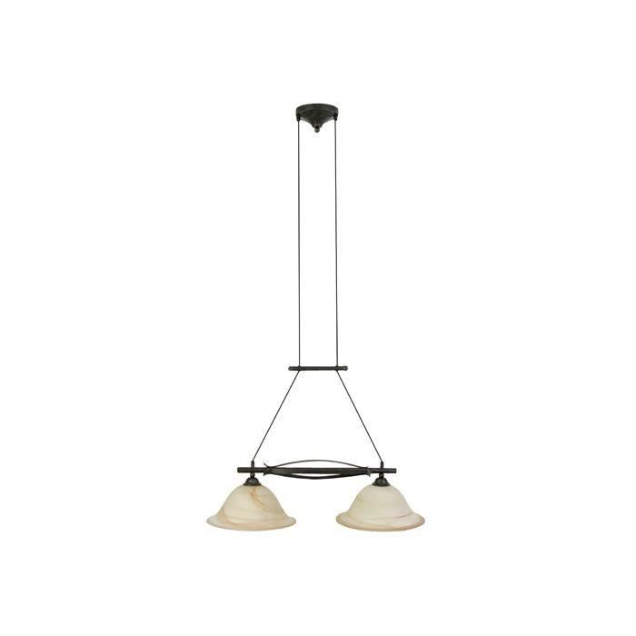 Suspension 2 lumières FIORE -2x75W E27 -BRONZE ANTIQUE - BRILLIANT - 81971_58
