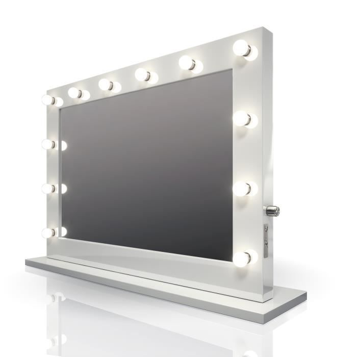 miroir de maquillage hollywood ultra brillant blanc
