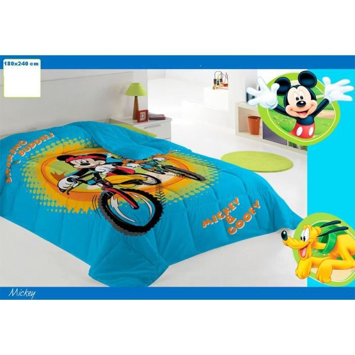 veritable couette mickey duvet gar on jet de lit 1 place couverture disney couvre lit chambre. Black Bedroom Furniture Sets. Home Design Ideas