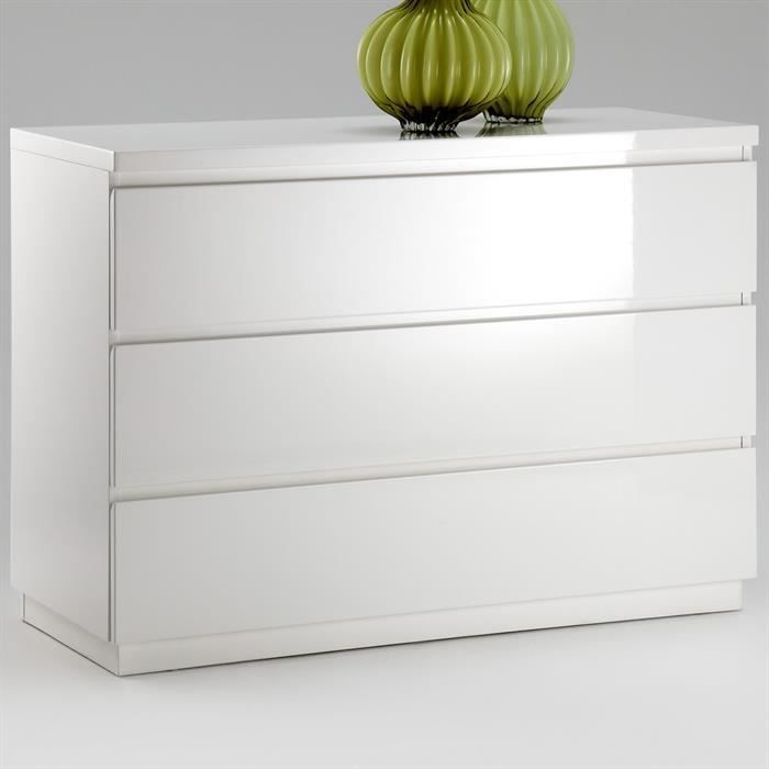 Commode opus laqu blanc brillant achat vente commode Commode blanc laque