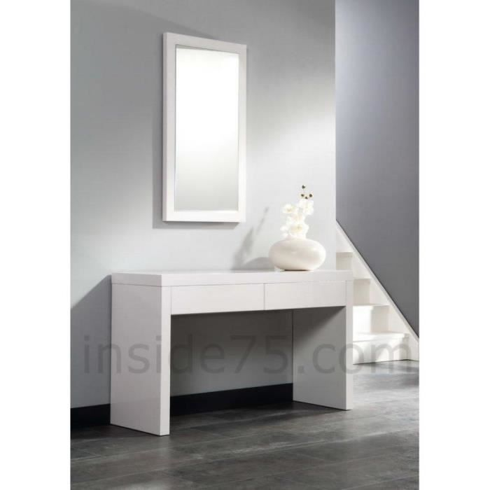 console laqu e blanc brillant avec tiroirs design achat vente console console laqu e blanc. Black Bedroom Furniture Sets. Home Design Ideas