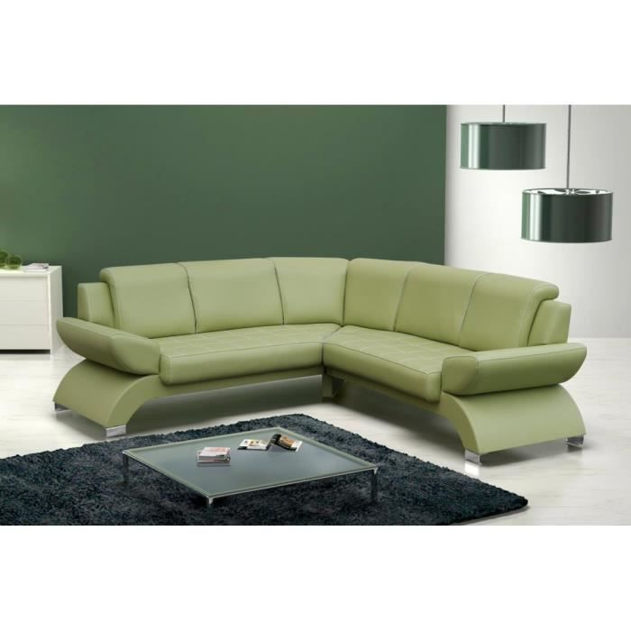 justhome orion bis canap d 39 angle en cuir vert l x p 225 226 cm achat vente canap sofa. Black Bedroom Furniture Sets. Home Design Ideas
