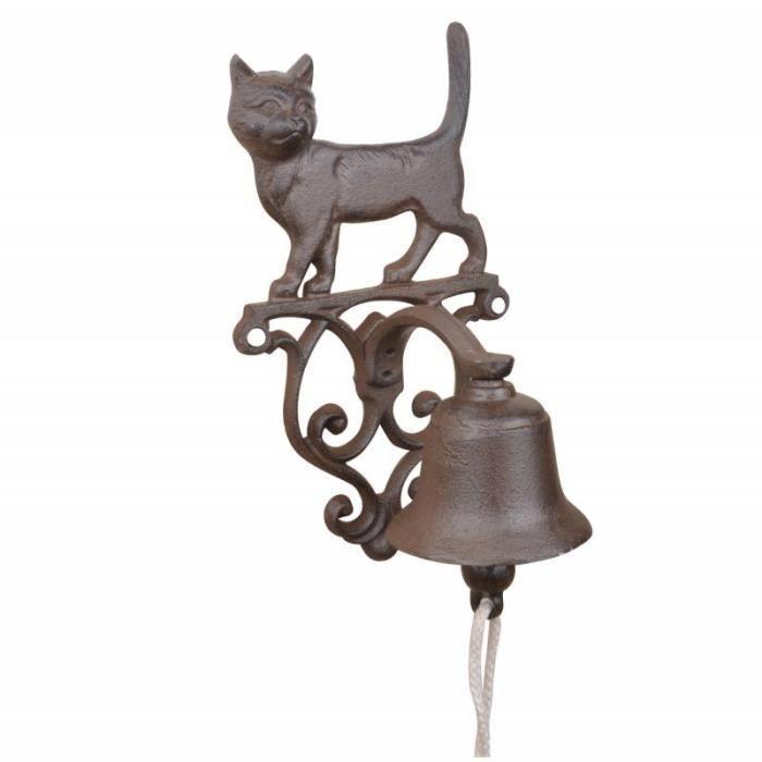 LH/éritier Du Temps Cloche Sonnette Motif Chien Carillon Clochette de Porte Murale sur Cr/édence en Fonte Patin/ée Marron 13x14,5x25cm