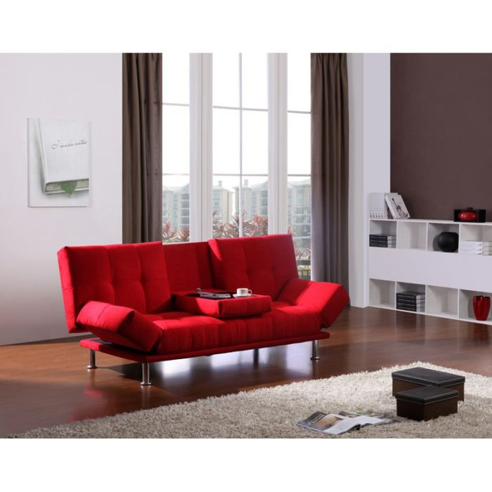 mika banquette clic clac tissu rouge achat vente. Black Bedroom Furniture Sets. Home Design Ideas