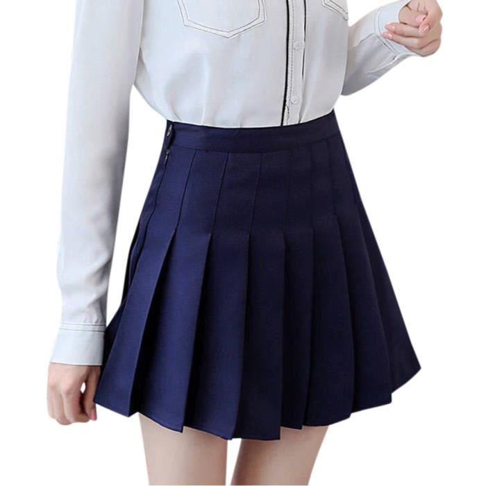 Femmes taille haute plissée Casual Tennis Style Mini Jupe de Patineuse