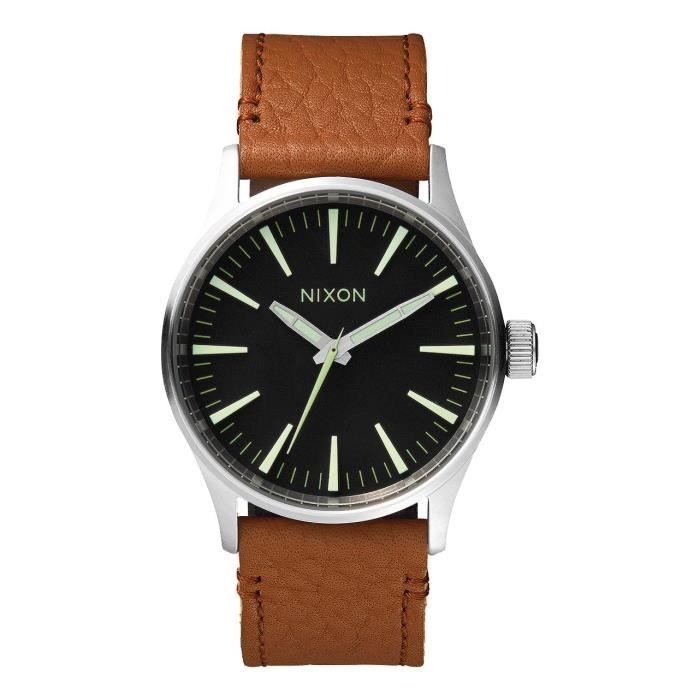 Nixon Sentry Leather Montre A377 38 38mm 1037 Bracelet Métal Homme yv8nm0wNO