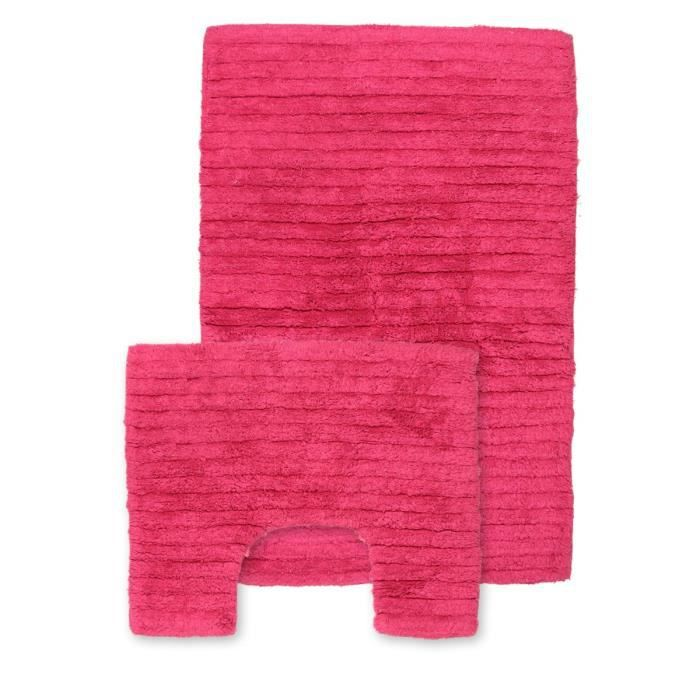 tapis de sdb et contour wc fushia rose achat vente tapis de bain soldes cdiscount. Black Bedroom Furniture Sets. Home Design Ideas