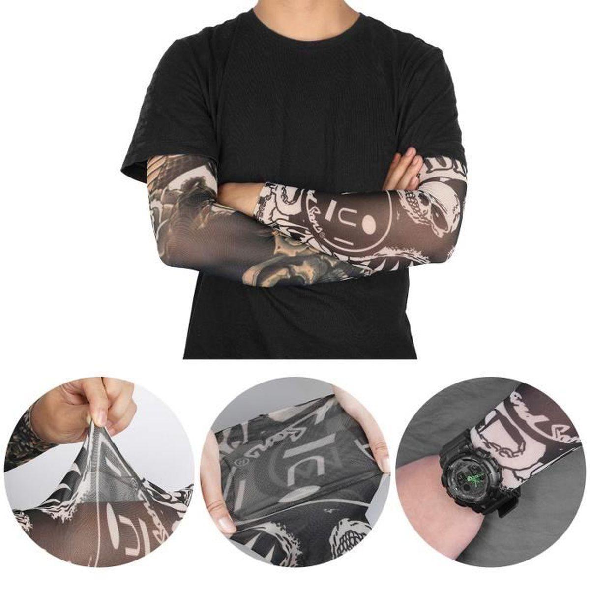 iKulilky Faux Tatouage Manches Bras Manchette Tatoo Collant Dessins Manches Bras Sportifs Tatouage Bras Couvre Nylon Sleeve 6 Mod/èles Diff/érents