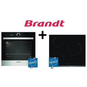PACK cuisson BRANDT:BXP5560X Four multifonction 68L Pyrolyse Inox+BPI6310B Table de cuisson induction-3 zones