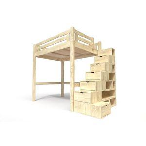 LIT MEZZANINE Lit Mezzanine Alpage bois + escalier cube hauteur