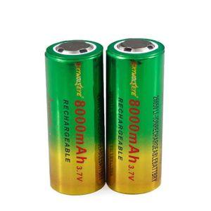 LAMPE DE POCHE Batterie rechargeable de Li-ion de 2pcs 3.7V 26650