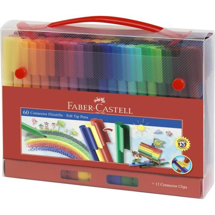 faber castell malette de 60 feutres connector coloris assortis achat vente feutres fc 60. Black Bedroom Furniture Sets. Home Design Ideas