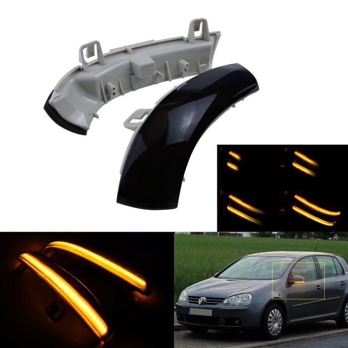 Gauche + Droit Dynamique LED Clignotant Miroir Rétroviseur Indicateur Noir Pour VW Golf 5 Passat EOS Skoda Superb Seat