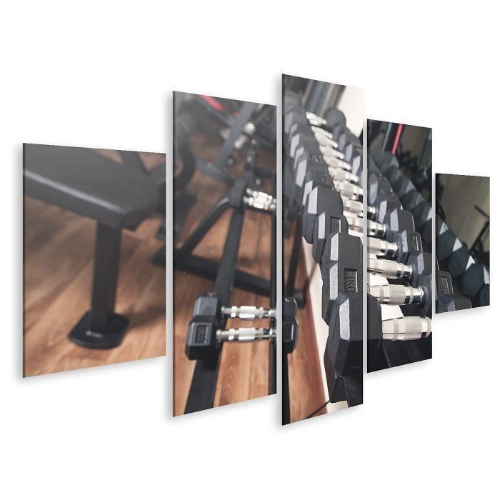 Tableau sur toile Haltères en métal pour la musculation en salle de sport. Taille: 170x80cm - 5 Pièces