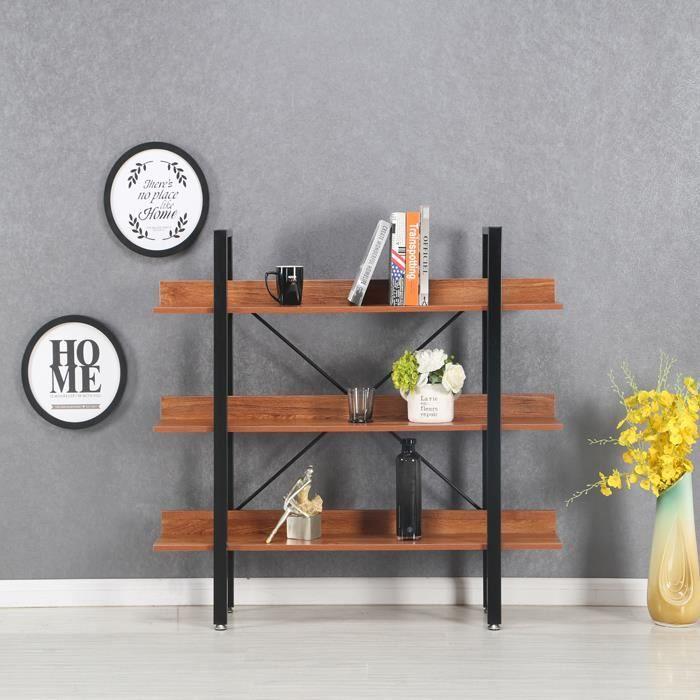 Étagères style industriel en bois foncé 106cm - Ekero - DESIGNETSAMAISON