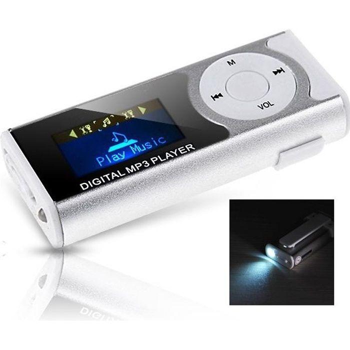 Lecteur MP3 avec écran digital et lampe de poch…
