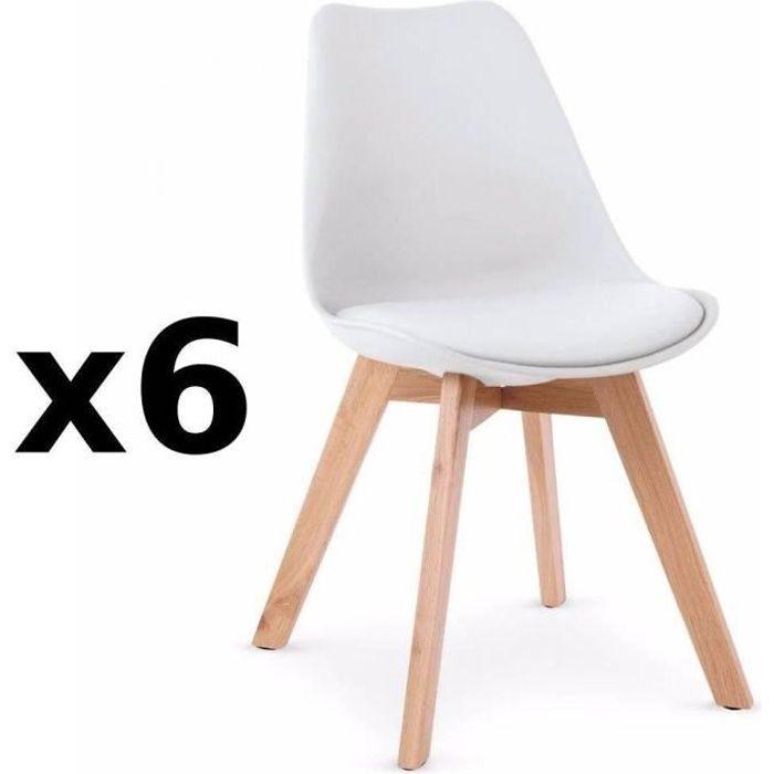 Lot de 6 chaises OSLO design scandinave piétement en hêtre