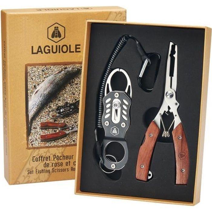 LAGUIOLE - Laguiole 40268483 Coffret Pêcheur contenant une Pince (22 cm) et un Crochet en Acier Inoxydable avec Manche en Bois de