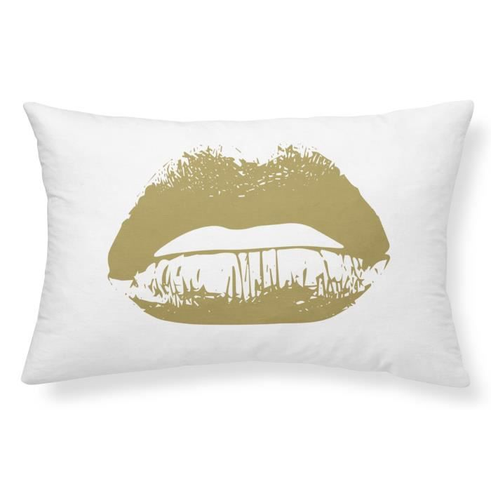 TODAY Coussin GOLD LABEL KISS 25x40 cm blanc, noir et or