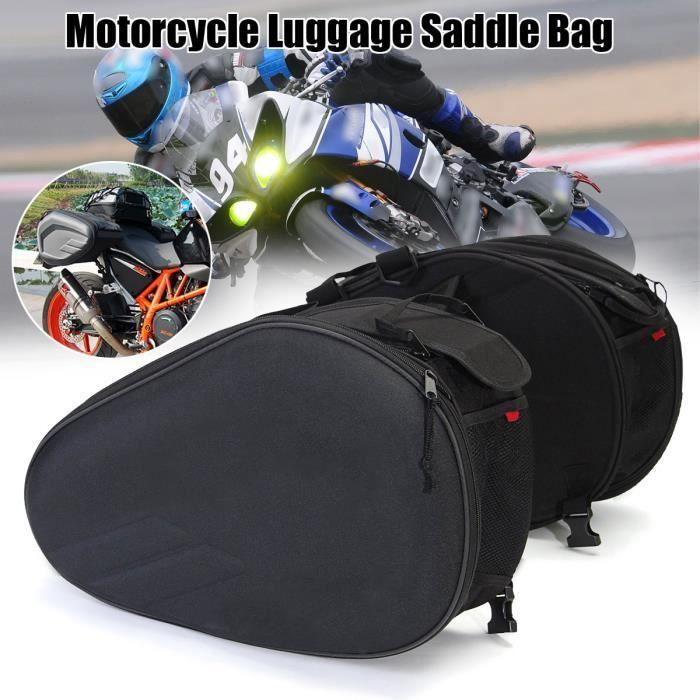 NEUFU 36-58L Moto Sacoche de Selle Sac Trousse Bagage Latérale + Couverture étanche