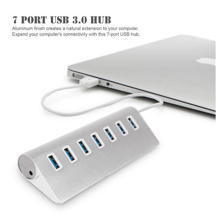 Aluminium 7 Port Usb 3.0 Hub séparateur haute vitesse adaptateur Hub Usb pour ordinateur portable macbook