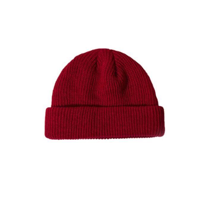 Bonnet pour Homme Femme Hiver Automne Casquette hip hop tricoté décontracté doux-Vin rouge