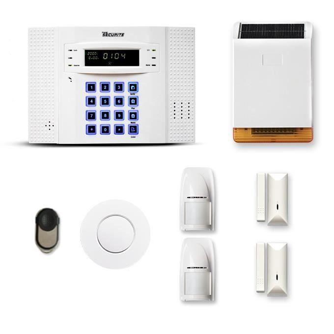 Alarme maison sans fil DNB 1 à 2 pièces mouvement + intrusion + détecteur de fumée + sirène extérieure solaire - Compatible Box / GS