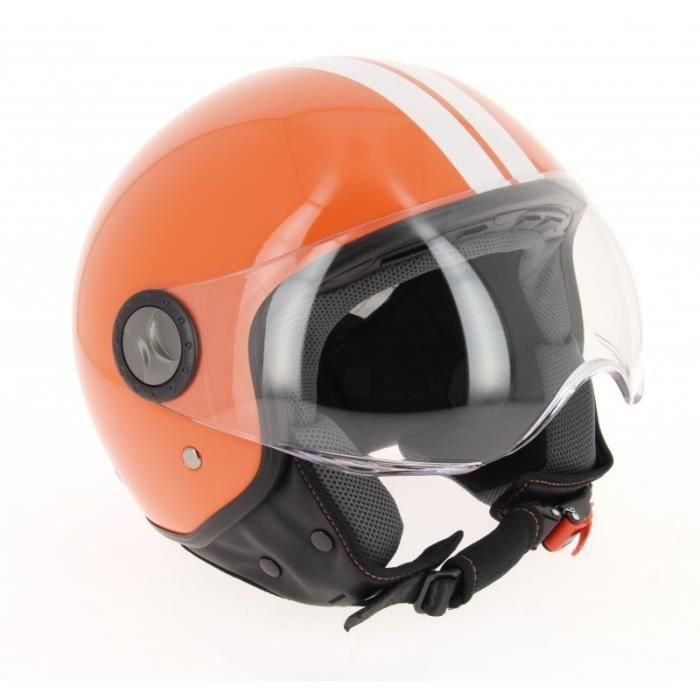 casque scooter jet orange achat vente pas cher. Black Bedroom Furniture Sets. Home Design Ideas