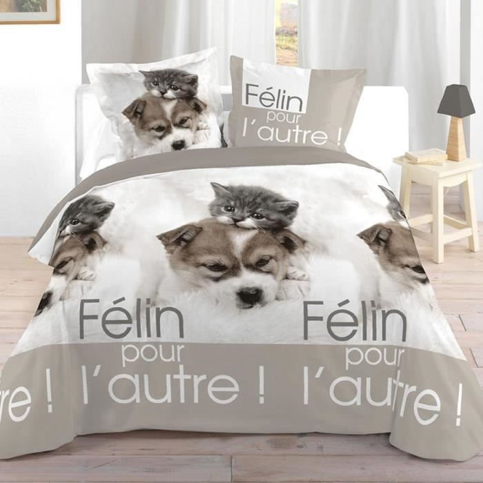 parure de lit chien et chat 240 x 220 cm achat vente parure de drap cdiscount. Black Bedroom Furniture Sets. Home Design Ideas