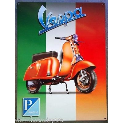 Plaque publicitaire scooter vespa orange drapeau italie for Garage scooter ouvert le dimanche