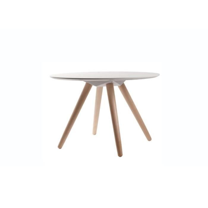Table basse ronde blanche beta blanc taille m achat for Table basse ronde blanc
