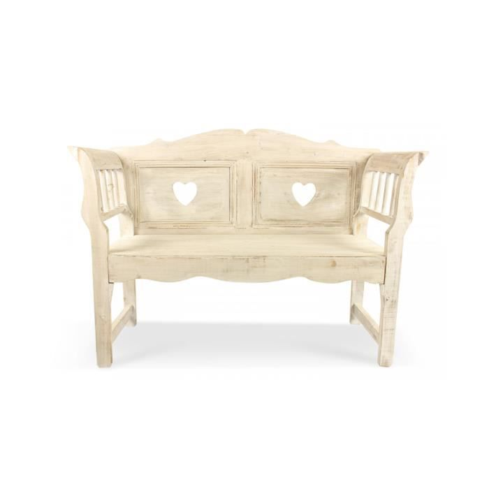 banc bois ceruse blanc 124x46x90cm achat vente banc bois cdiscount. Black Bedroom Furniture Sets. Home Design Ideas