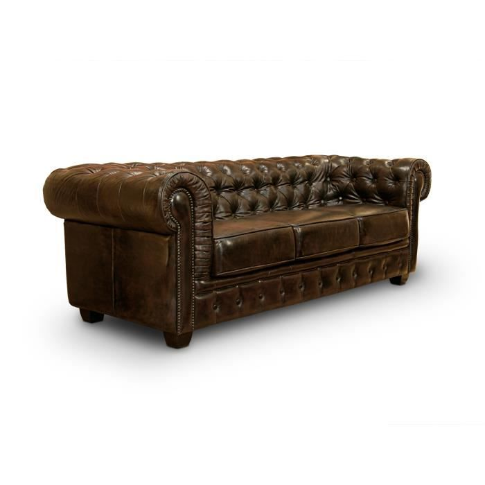 Canap chesterfield 3 places en cuir v ritable brun for Canape chesterfield cuir occasion